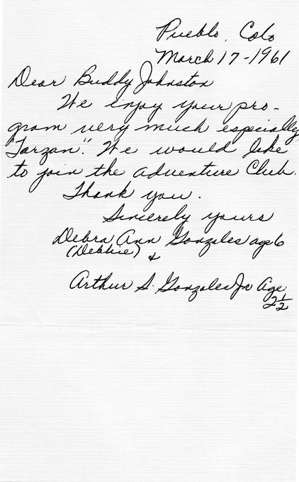 1961 mother's note